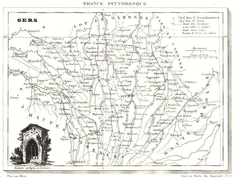 Associate Product GERS. Département du Gers 1835 old antique vintage map plan chart