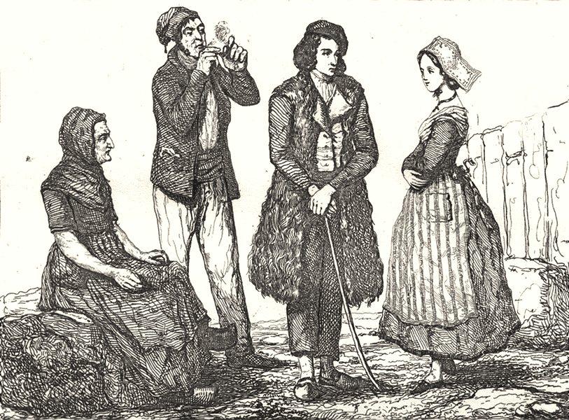Associate Product GIRONDE. Costumes de la Gironde 1835 old antique vintage print picture