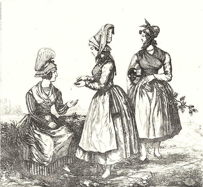 GIRONDE. Bordeaux. Costumes des area 1835 old antique vintage print picture