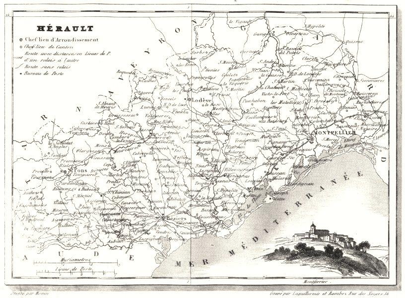 Associate Product HÉRAULT. Département de I'Hérault 1835 old antique vintage map plan chart