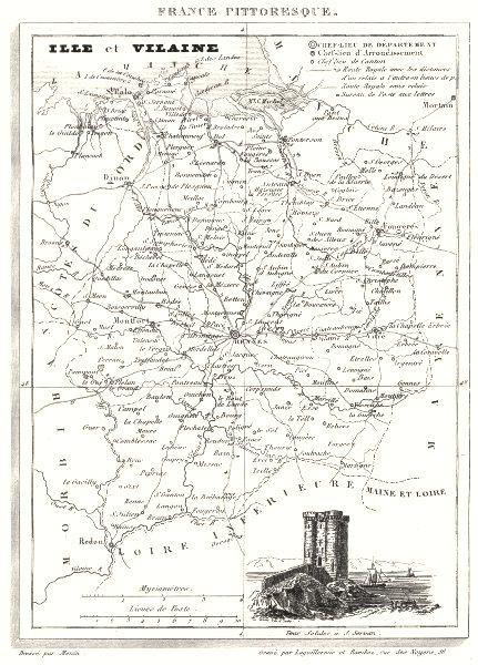Associate Product ILLE-ET-VILAINE. Ille-Et-Vilaine 1835 old antique vintage map plan chart