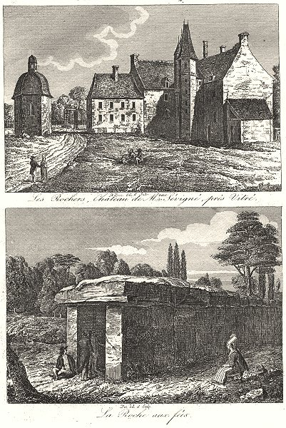 Associate Product ILLE-ET-VILAINE. Rochers, Château Mme Sévigné, Près Vitré; Roche Fées 1835