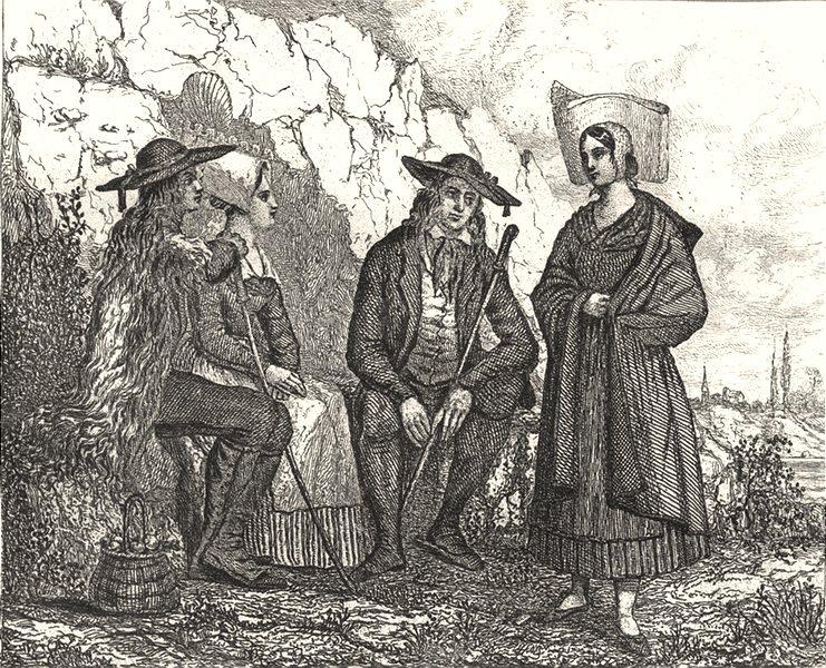 Associate Product ILLE-ET-VILAINE. Costumes du dépt 1835 old antique vintage print picture