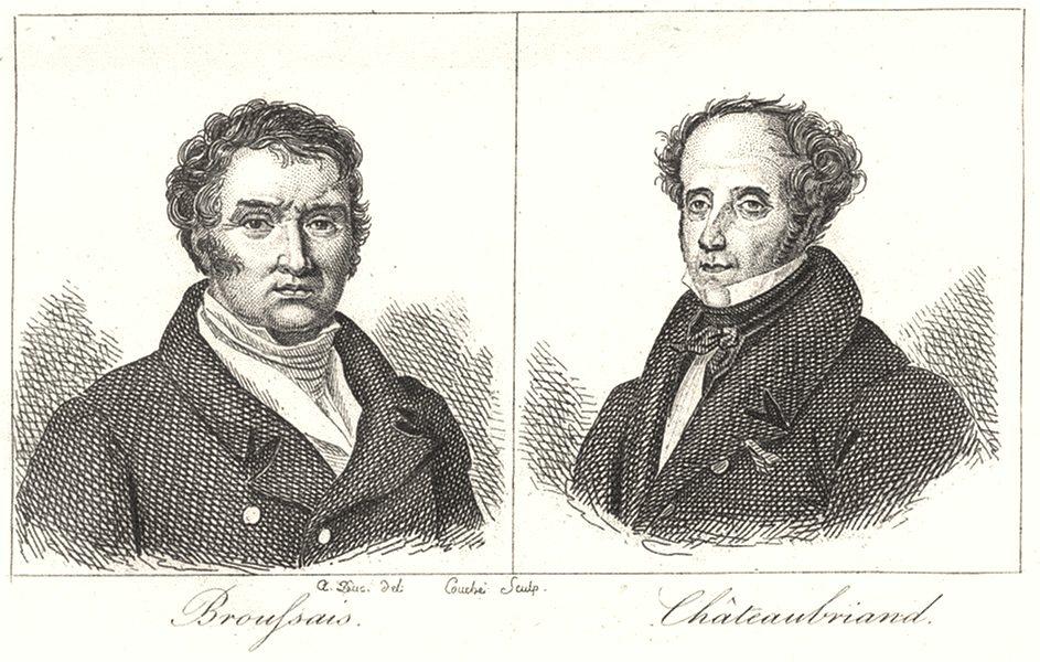 Associate Product ILLE-ET-VILAINE. Broufsais; Châteaubriand 1835 old antique print picture
