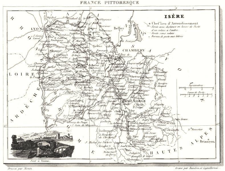 Associate Product ISÈRE. Département de l'Isère 1835 old antique vintage map plan chart