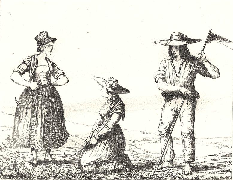 Associate Product ISÈRE. Costumes de l'Isére 1835 old antique vintage print picture