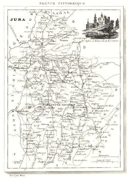 Associate Product JURA. Département du Jura 1835 old antique vintage map plan chart