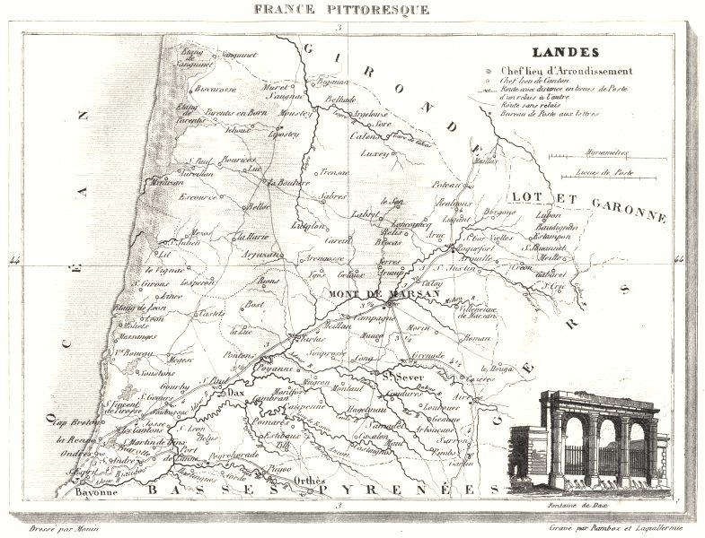 Associate Product LANDES. Département des Landes 1835 old antique vintage map plan chart