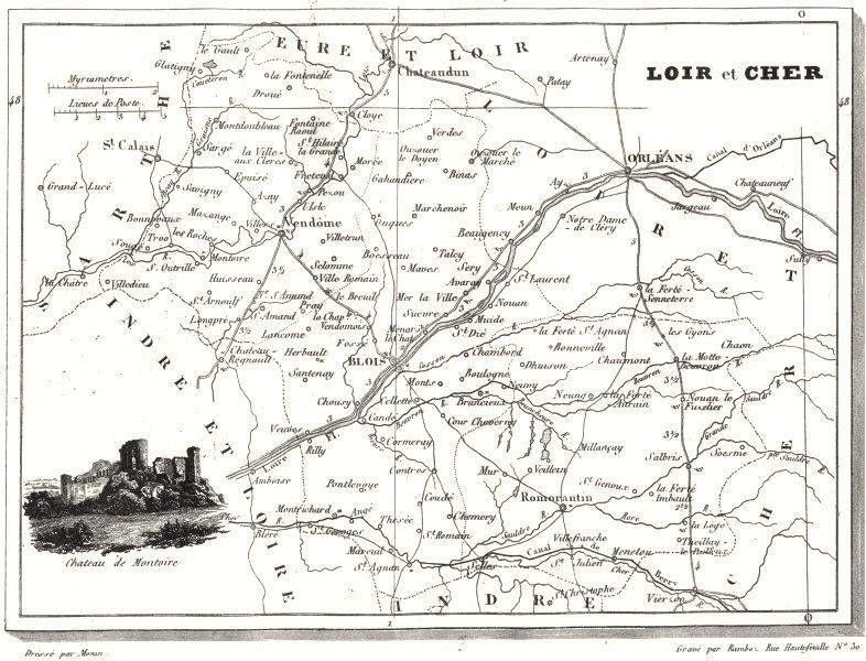 Associate Product LOIR-ET-CHER. Département de Loir-et-Cher 1835 old antique map plan chart