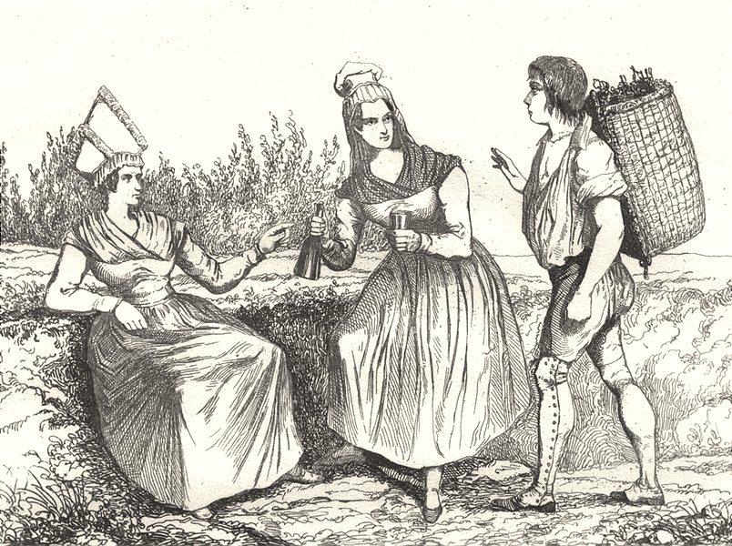 Associate Product LOIR-ET-CHER. Costumes des bords de la Loire 1835 old antique print picture