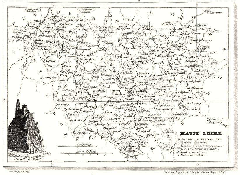 Associate Product HAUTE-LOIRE. Département de la Haute-Loire 1835 old antique map plan chart