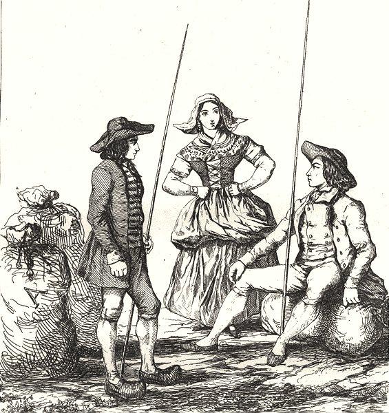 Associate Product HAUTE-LOIRE. Costumes de la Baute Loire 1835 old antique vintage print picture