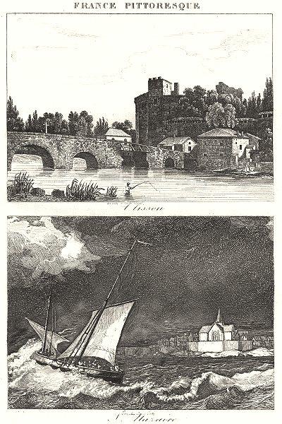 Associate Product LOIRE-ATLANTIQUE. Loire-Inférieure. L'Lisson; S. Nazaire 1835 old print