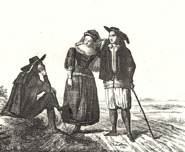 Associate Product LOIRE-ATLANTIQUE. Loire-Inférieure. dress Bretons 1835 old print