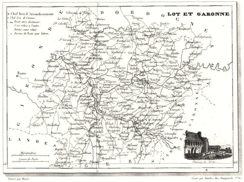 Associate Product LOT-ET-GARONNE. Département du Lot-et-Garonne 1835 old antique map plan chart