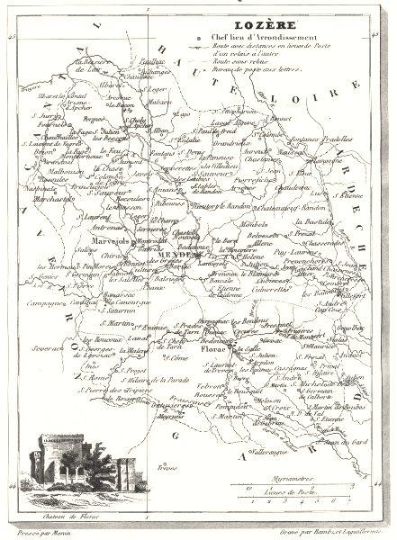 Associate Product LOZÈRE. Département de la Lozère 1835 old antique vintage map plan chart