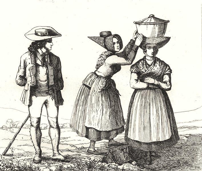Associate Product LOZÈRE. Costumes de la Lozère 1835 old antique vintage print picture