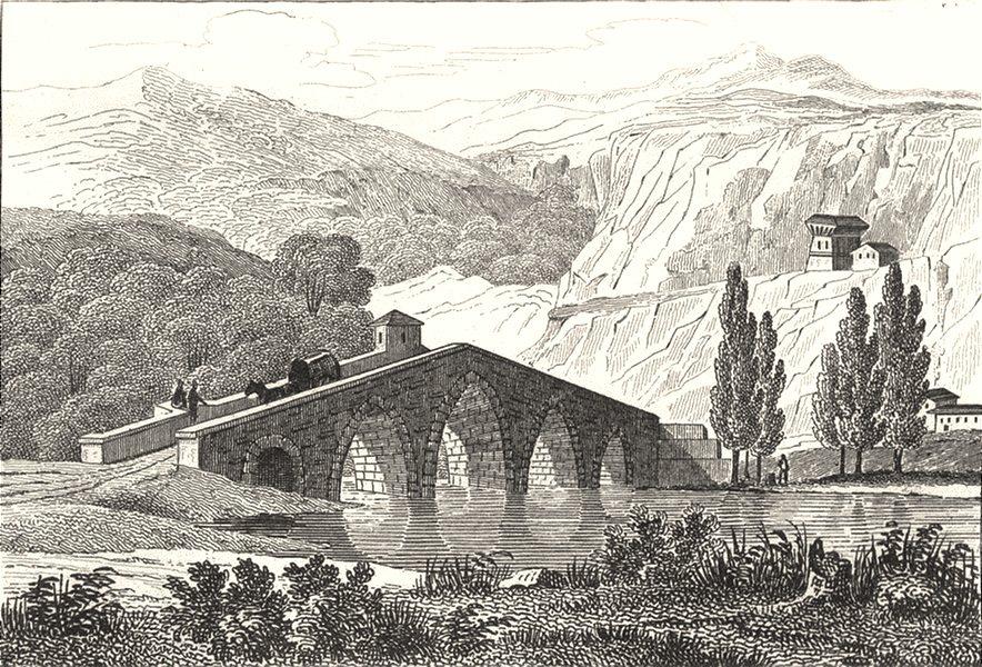 LOZÈRE. Pont Gothique Près Mende 1835 old antique vintage print picture