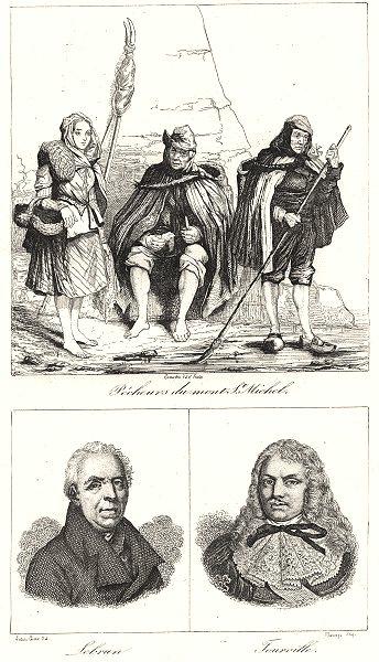 Associate Product MANCHE. Pécheurs du mont St. Michel; Sebrun; Tourville 1835 old antique print