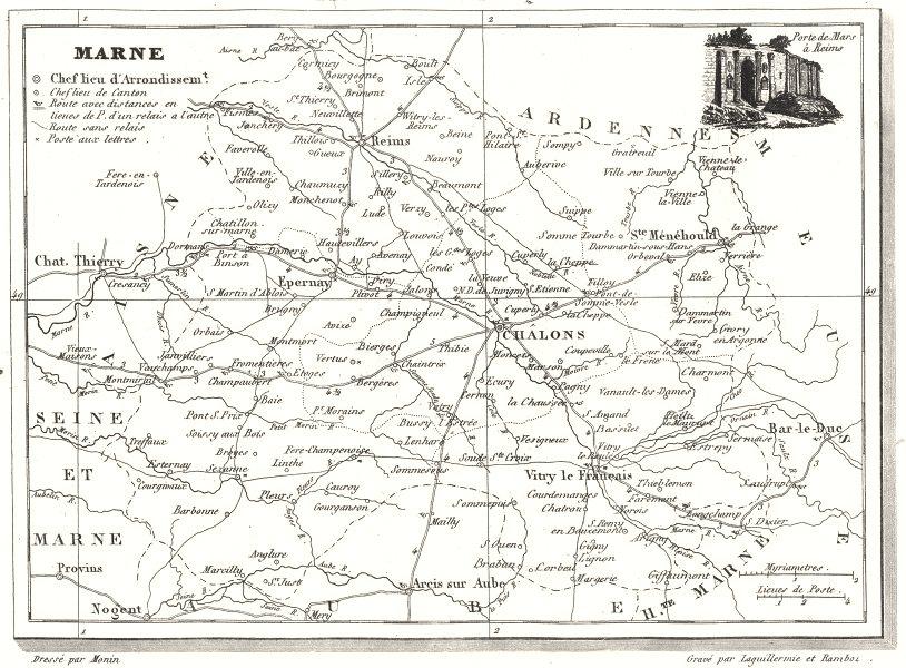 Associate Product MARNE. Département de la Marne 1835 old antique vintage map plan chart