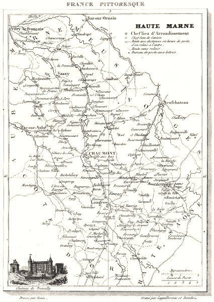 Associate Product HAUTE-MARNE. Département de la Haute-Marne 1835 old antique map plan chart