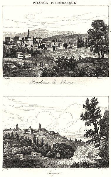 Associate Product HAUTE-MARNE. Bourbonne-les-Bains; Langres 1835 old antique print picture