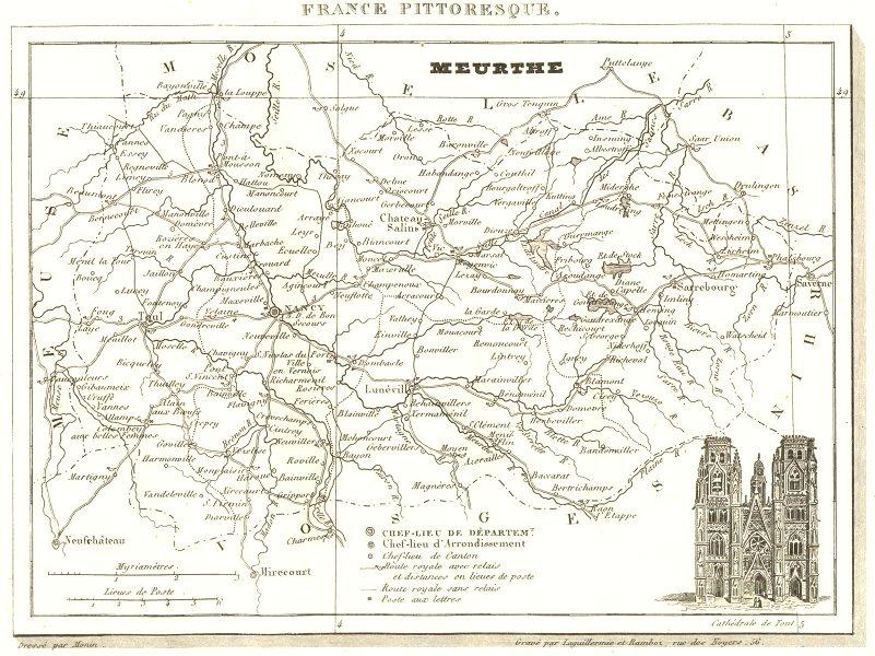 Associate Product FRANCE. Département de la Meurthe 1835 old antique vintage map plan chart