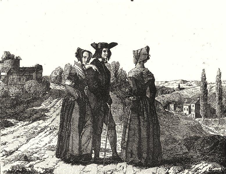 Associate Product FRANCE. Costumes-Lorrains 1835 old antique vintage print picture