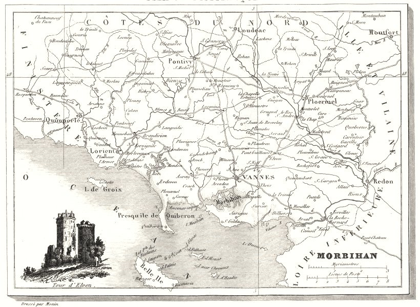 Associate Product MORBIHAN. Département du Morbihan 1835 old antique vintage map plan chart