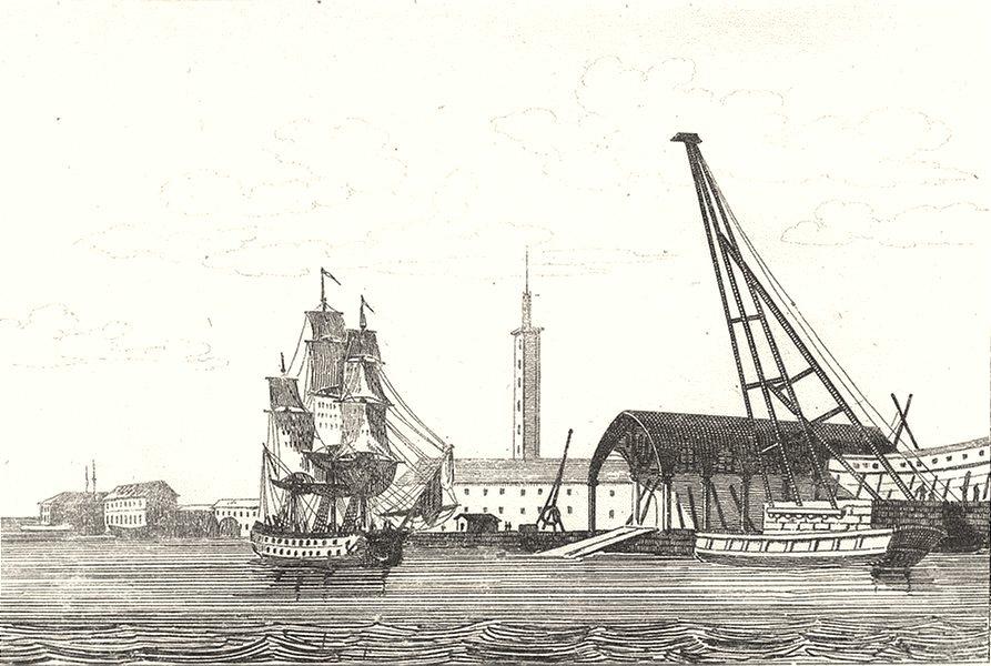 Associate Product MORBIHAN. Port de Lorient 1835 old antique vintage print picture