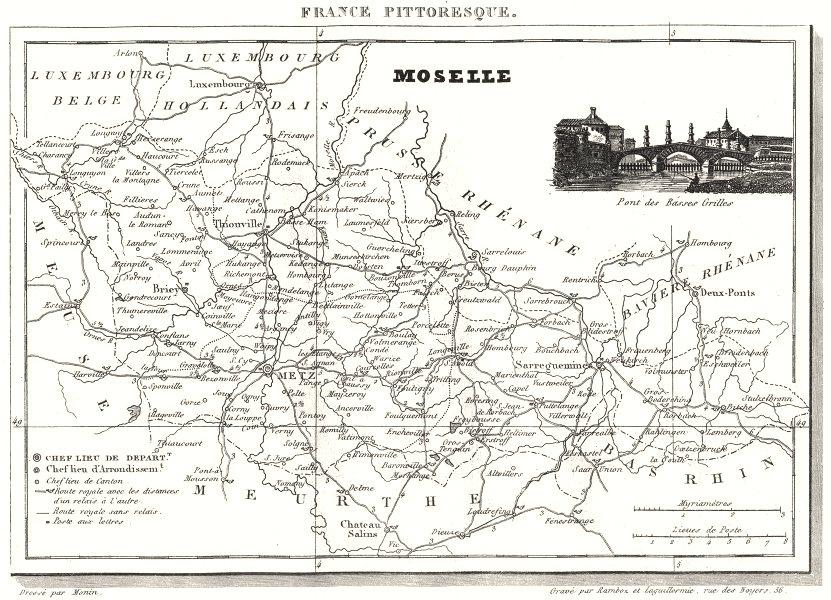 Associate Product MOSELLE. Département du la Moselle 1835 old antique vintage map plan chart