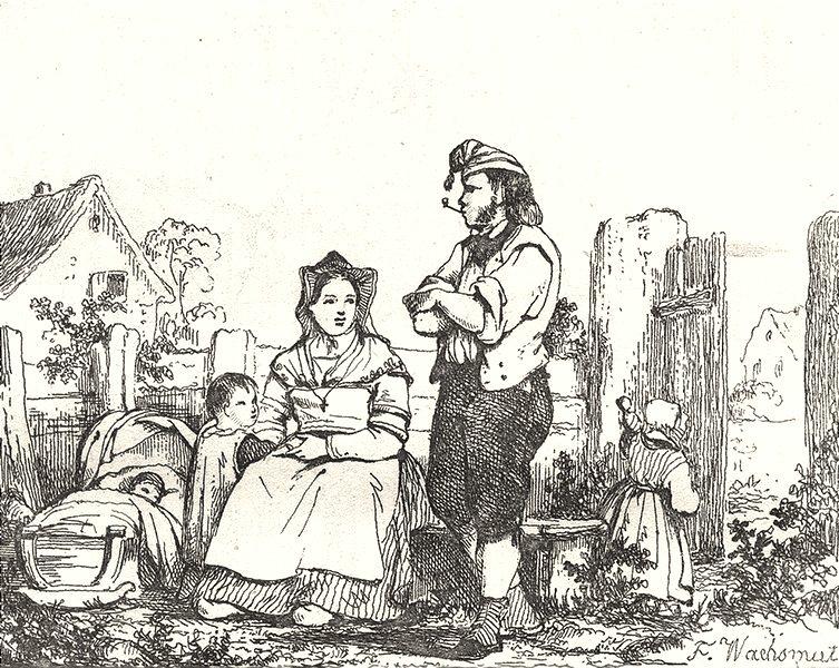 Associate Product MOSELLE. Costumes de la Moselle 1835 old antique vintage print picture