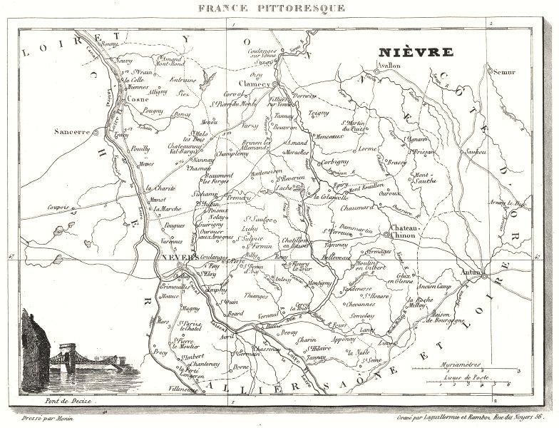Associate Product NIÈVRE. Département de la Nièvre 1835 old antique vintage map plan chart