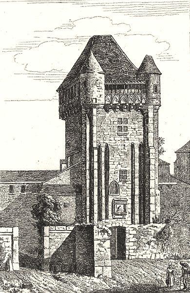 NIÈVRE. Porte de Nevers 1835 old antique vintage print picture