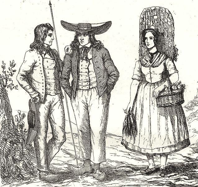 Associate Product NIÈVRE. Costumes de la Nievre 1835 old antique vintage print picture