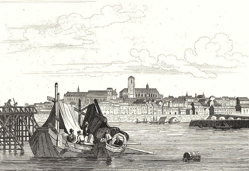 Associate Product NIÈVRE. Nevers 1835 old antique vintage print picture