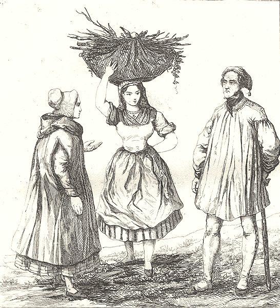Associate Product NORD. Lille. Costumes des environs de Lille 1835 old antique print picture