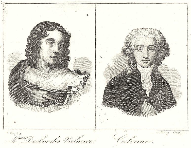 Associate Product NORD. Lille. Mme. Desbordes Valmore; Calonne 1835 old antique print picture