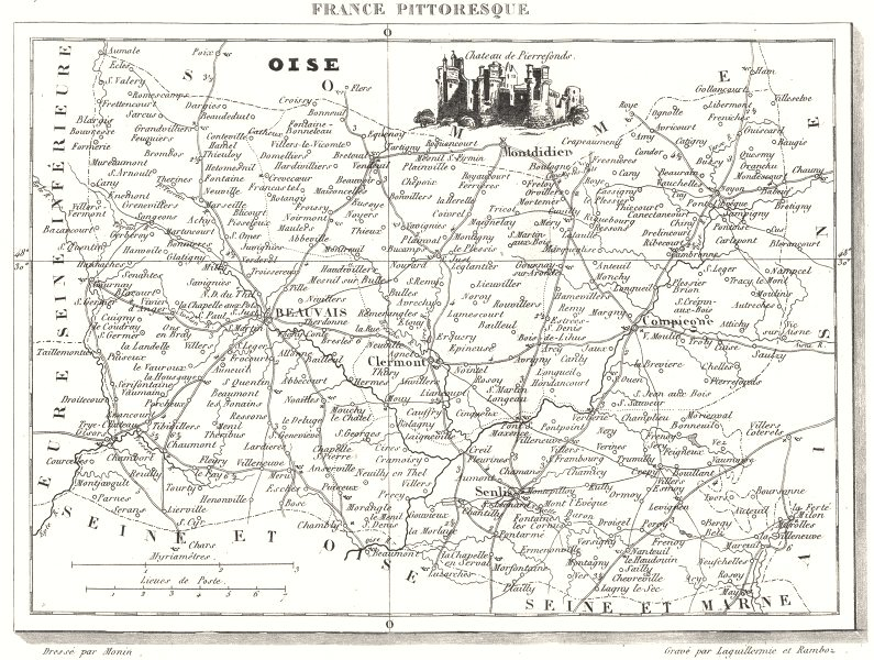 Associate Product OISE. Département de l'Oise 1835 old antique vintage map plan chart