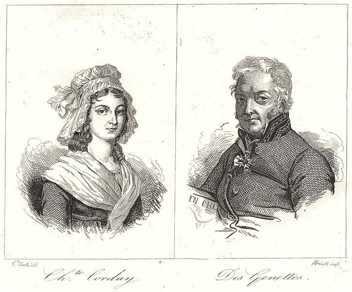 Associate Product ORNE. Chte. Corday; Des Genettes 1835 old antique vintage print picture