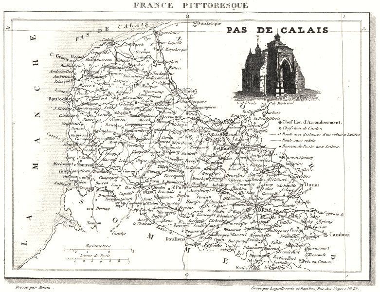 Associate Product PAS-DE-CALAIS. Département du Pas-de-Calais 1835 old antique map plan chart