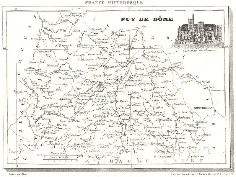 Associate Product PUY-DE-DÔME. Département Du Puy-de-Dôme 1835 old antique map plan chart