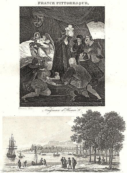 Associate Product PYRÉNÉES-ATLANTIQUES. BAYONNE. Naissance d'Henri IV; port Citadelle de 1835