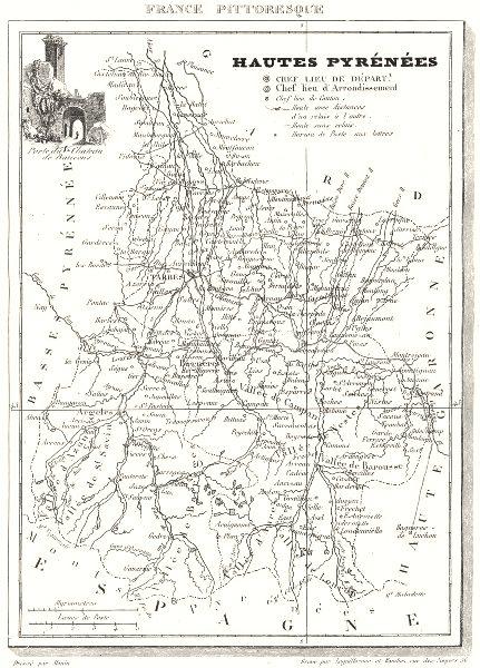 Associate Product HAUTES-PYRÉNÉES. Département du Hautes-Pyrénées 1835 old antique map chart