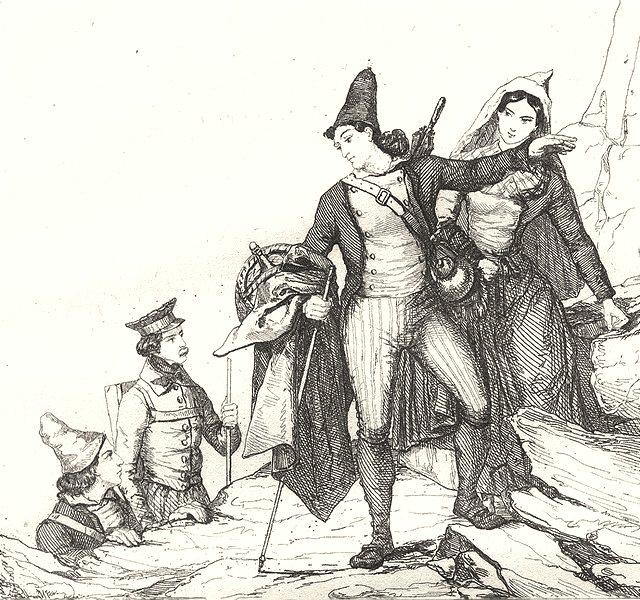 Associate Product HAUTES-PYRÉNÉES. Costumes des Hautes-Pyrénées 1835 old antique print picture