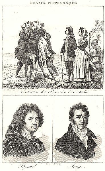 Associate Product PYRÉNÉES-ORIENTALES. Costumes des; Rigaud; Arago 1835 old antique print