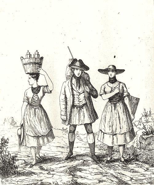 Associate Product ALSACE. Costumes Alsaciens 1835 old antique vintage print picture