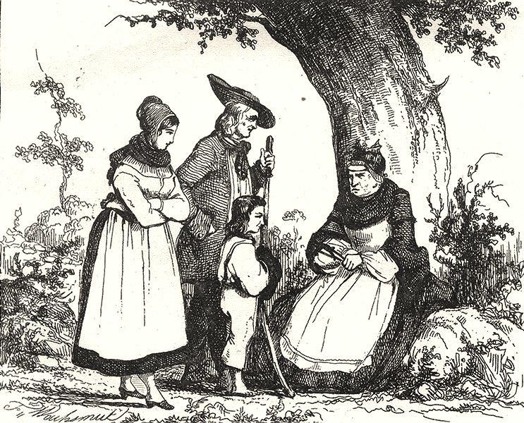 Associate Product HAUT-RHIN. Costumes du Haut-Rhin 1835 old antique vintage print picture