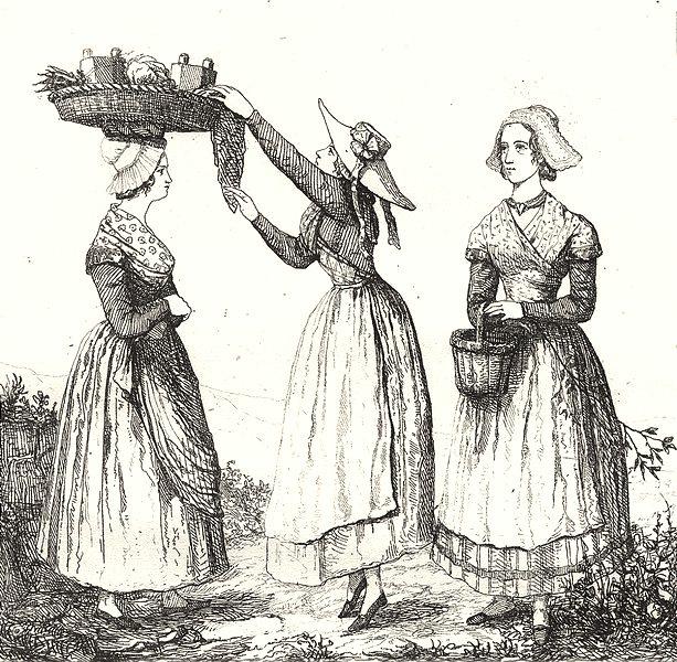Associate Product RHÔNE. Costumes du Rhòne 1835 old antique vintage print picture