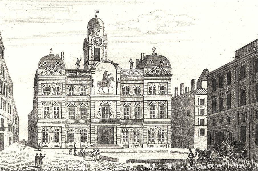 RHÔNE. Hotel de Ville de Lyon 1835 old antique vintage print picture